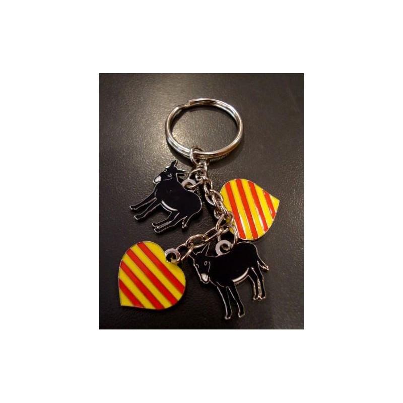Porte-clés charm's ânes catalans et coeurs