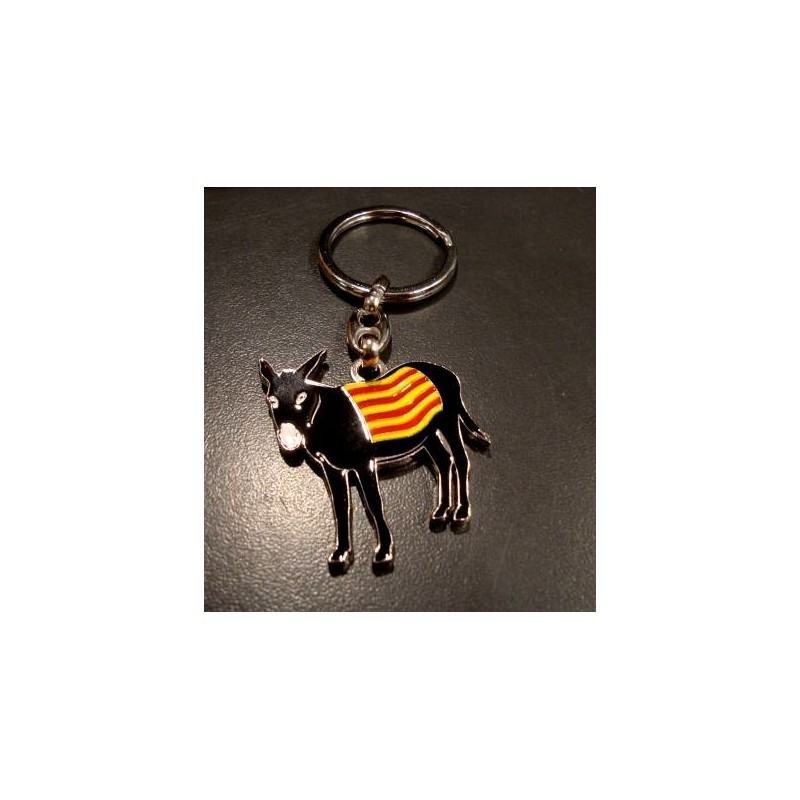 Porte-clés âne catalan burro avec le drapeau en métal