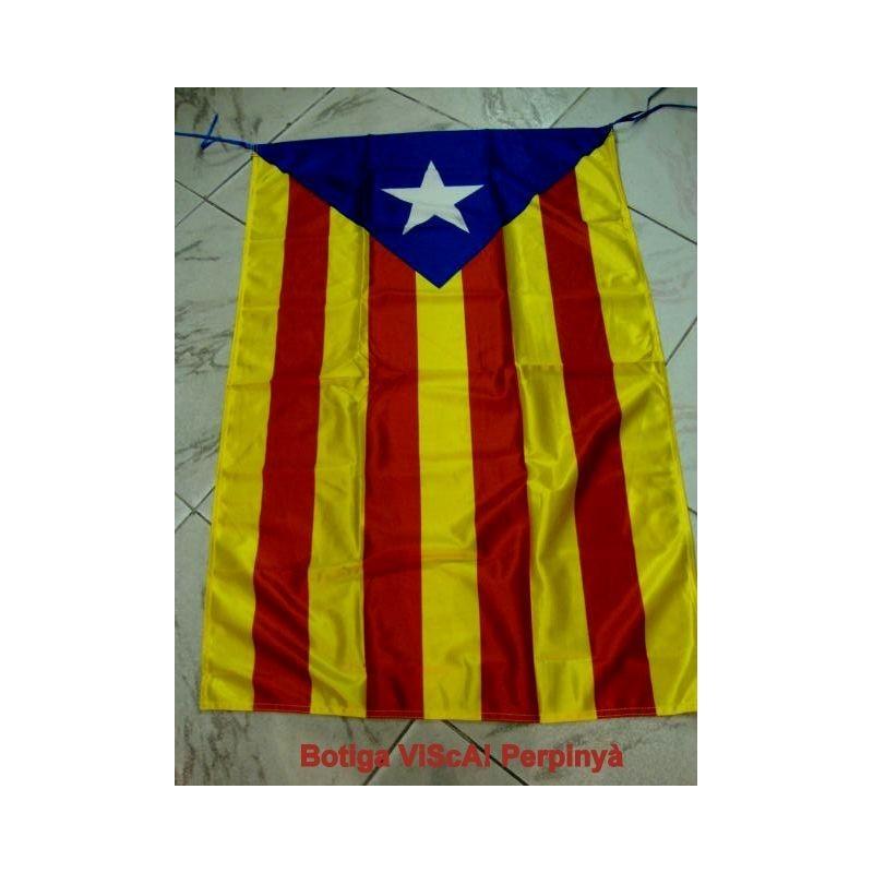 Drapeau catalan avec l'Estelada blava (étoileblanche fond bleu)