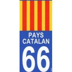 Autocollant moto immatriculation drapeau Pays catalan