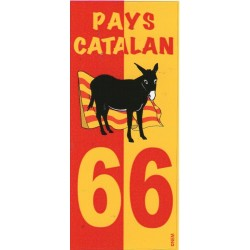 Sticker for the license plates of motorcycles with the catalan donkey