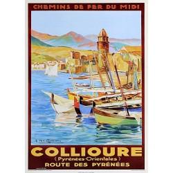 """Affiche ancienne Collioure """"Chemin de fer du midi"""""""