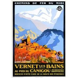 """Affiche ancienne Vernet les bains avec le Canigou  """"Chemin de fer du midi"""""""