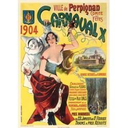 """Affiche ancienne """"Carnaval de Perpignan"""" 1904"""