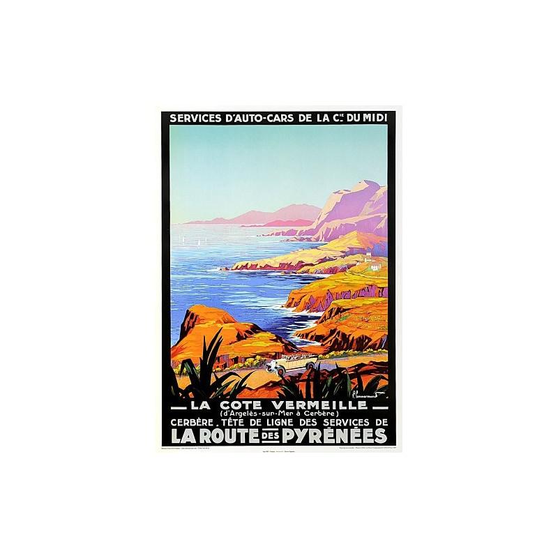 """Affiche ancienne """"La côte vermeille"""""""
