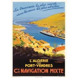 """Collioure Affiche ancienne """"Chemin de fer du midi"""""""