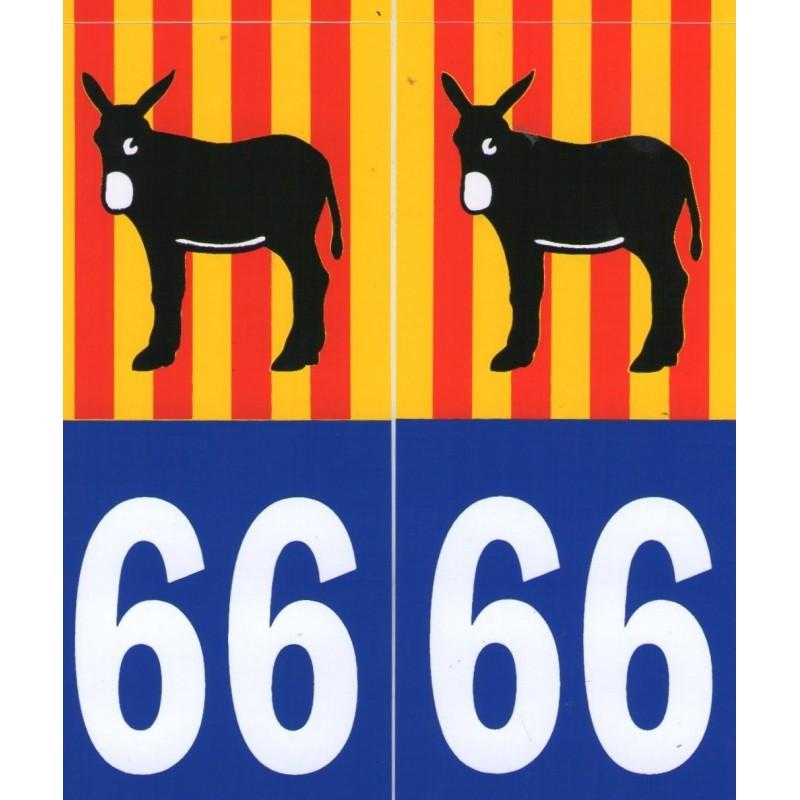 Autocollants (par 2) pour plaque immatriculation avec l'âne catalan et le drapeau