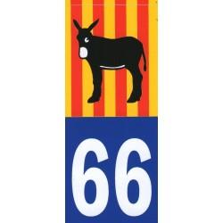 Autocollant immatriculation avec l'âne catalan et le drapeau Catalunya  catalan