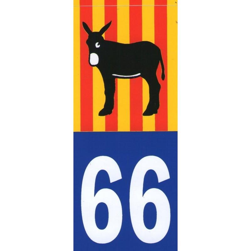 Adhesiu matrícula amb el burro i la bandera