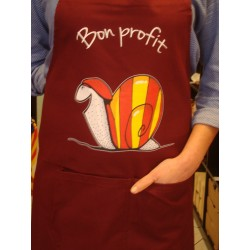 Apron burgundy  with catalan snail