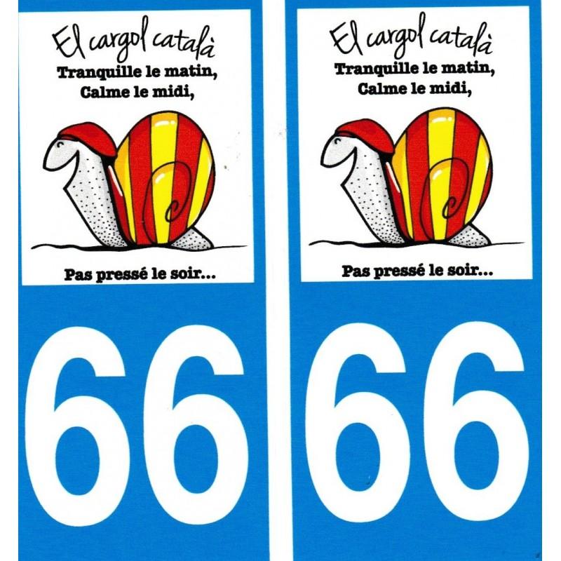 Autocollants (par 2) pour plaque immatriculation avec l'escargot catalan