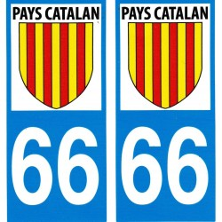 stickers (2) for the car with the catalan flag