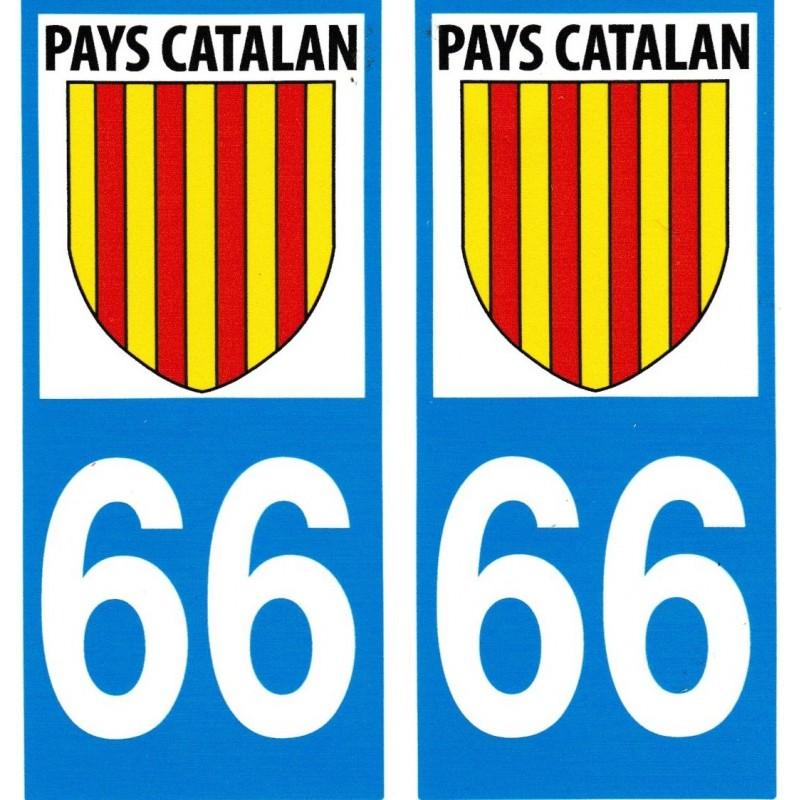 Autocollants (par 2) pour plaque immatriculation avec le blason catalan