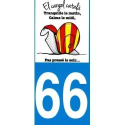 Autocollant pour plaque immatriculation avec l'escargot catalan