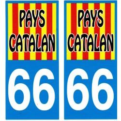 Autocollants (par 2) pour plaque immatriculation Pays catalan