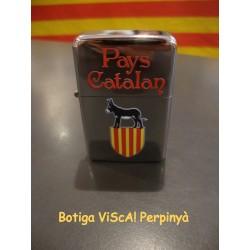 Briquet métallique argenté avec l'âne catalan