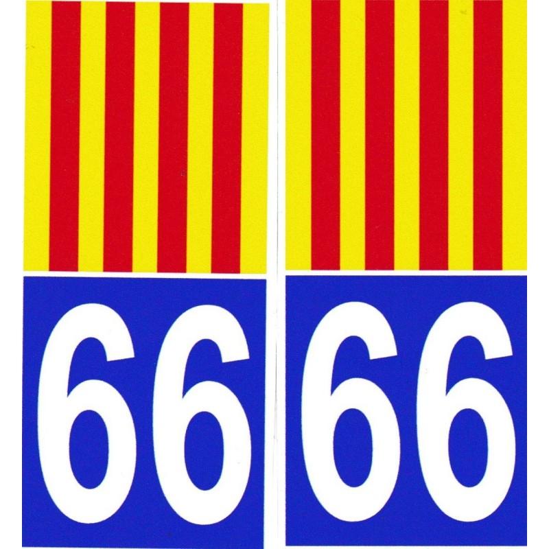 Autocollants (par 2) pour plaque immatriculation avec le drapeau catalan