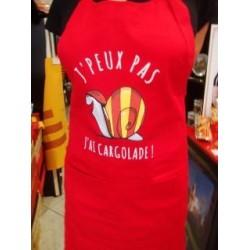 """Tablier rouge """"j'peux pas j'ai cargolade"""" avec l'escargot catalan"""