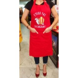 "Apron red with catalan snail "" j'peux pas j'ai cargolade"""