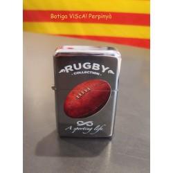 Briquet métallique argenté Rugby