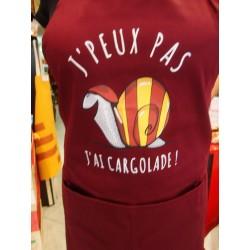 """Tablier bordeaux """"j'peux pas j'ai cargolade"""" avec l'escargot catalan"""