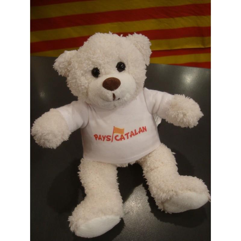 Peluche ourson blanc avec tee-shirt Pays catalan