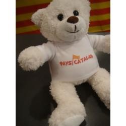 Plush white bear with tee-shirt Pays catalan