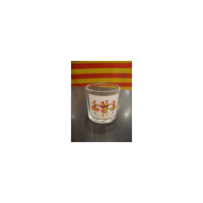"glass for licor with the ""sardane' catalan dance"