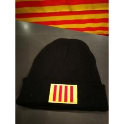Bonnet noir en laine avec le drapeau catalan
