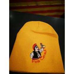 Bonnet  jaune en laine brodé Pais Català