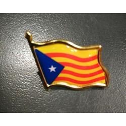 Pin's drapeau catalan indépendantiste (estelada blava)