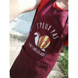 "Apron burgundy with catalan snail "" j'peux pas j'ai cargolade"""