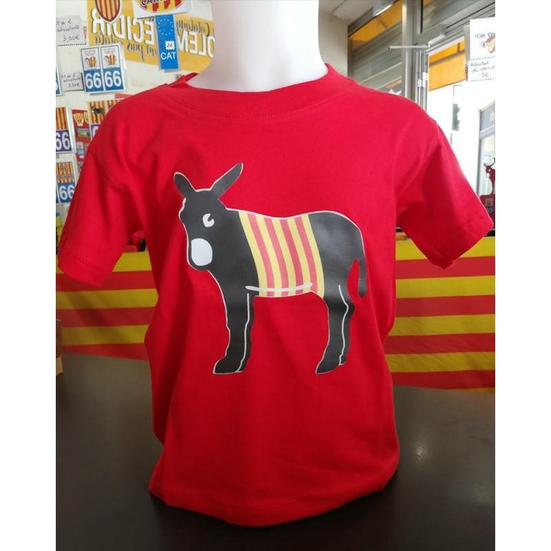 Tee-shirt enfant rouge avec l'âne catalan