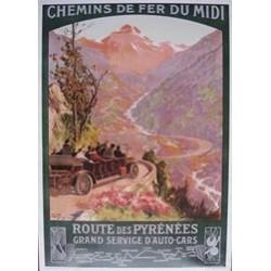 Affiche ancienne chemin des Pyrénées