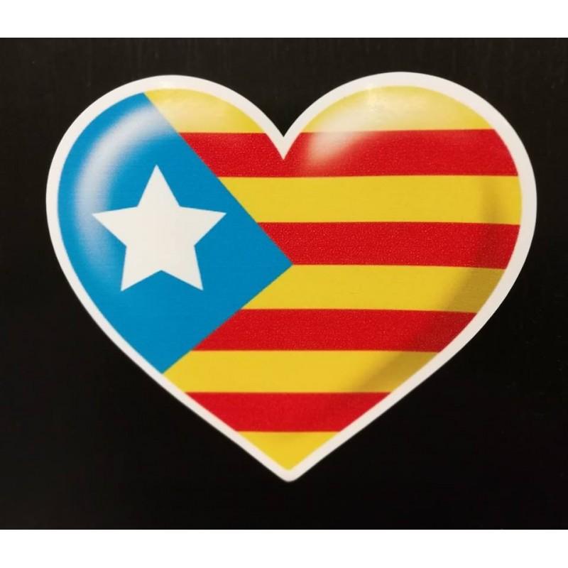 Autocollant coeur drapeau catalan estelada blava