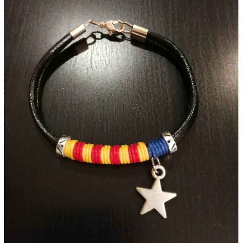 Bracelet cuir estelada drapeau indépendantiste catalan