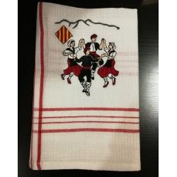 Torchon rectangulaire écru avec la bandera La catalane