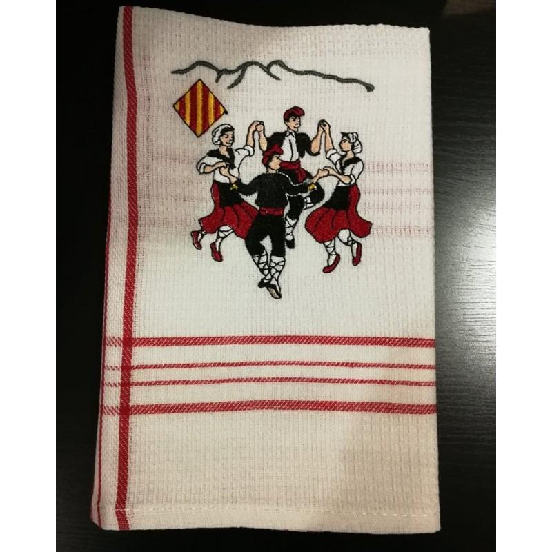Tovallon rectangular blanc avec la bandera La catalane