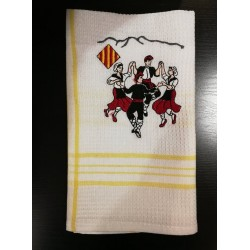 tea towel with the catalan dance la sardane