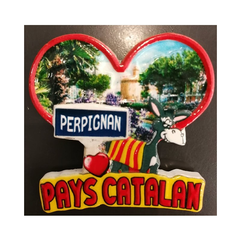 Magnet heart Perpignan Catalan country in resin