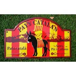 Plaque de rue en alu âne catalan