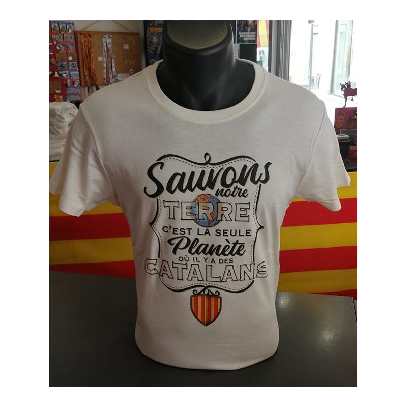 Tee-shirt Sauvons notre terre c'est la seule planète où il y a des catalans