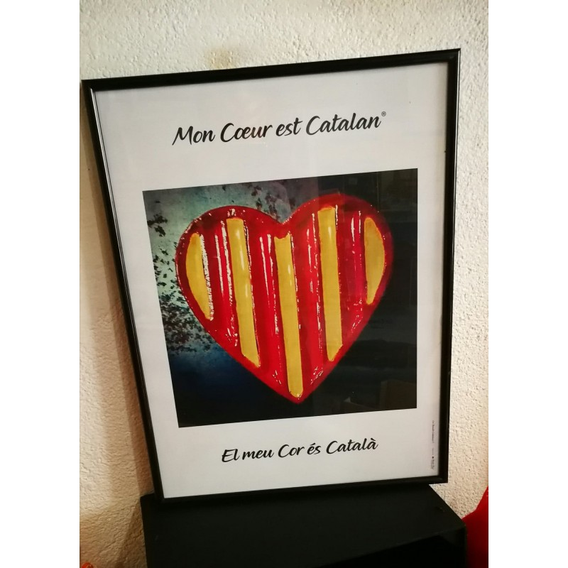"""Affiche encadrée """"mon coeur est catalan"""""""