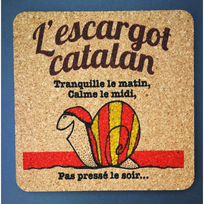 Dessous de verre en liège Escargot catalan