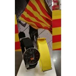 Watch catalan flag black 36mm