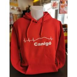 Sweat à capuche rouge Canigó pulsations
